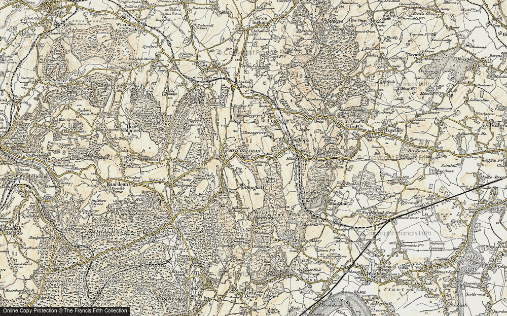 Old Map of Historic Map covering Abenhall in 1899-1900