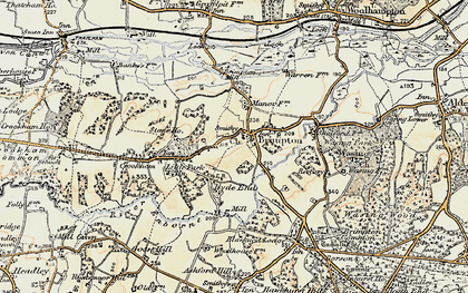 Old map of Brimpton in 1897-1900