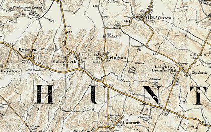 Old map of Brington in 1901-1902