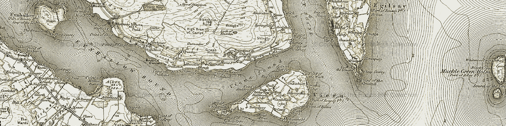 Old map of Wyre in 1912