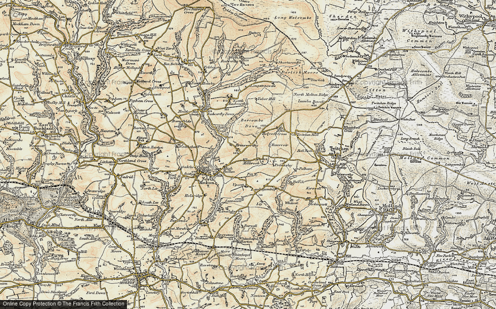 Old Map of Historic Map covering Barcombe Down in 1900