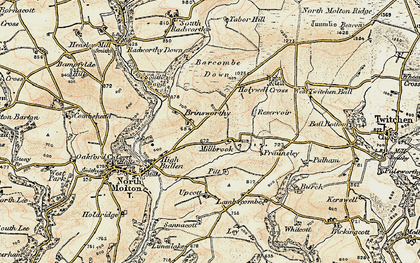 Old map of Barcombe Down in 1900