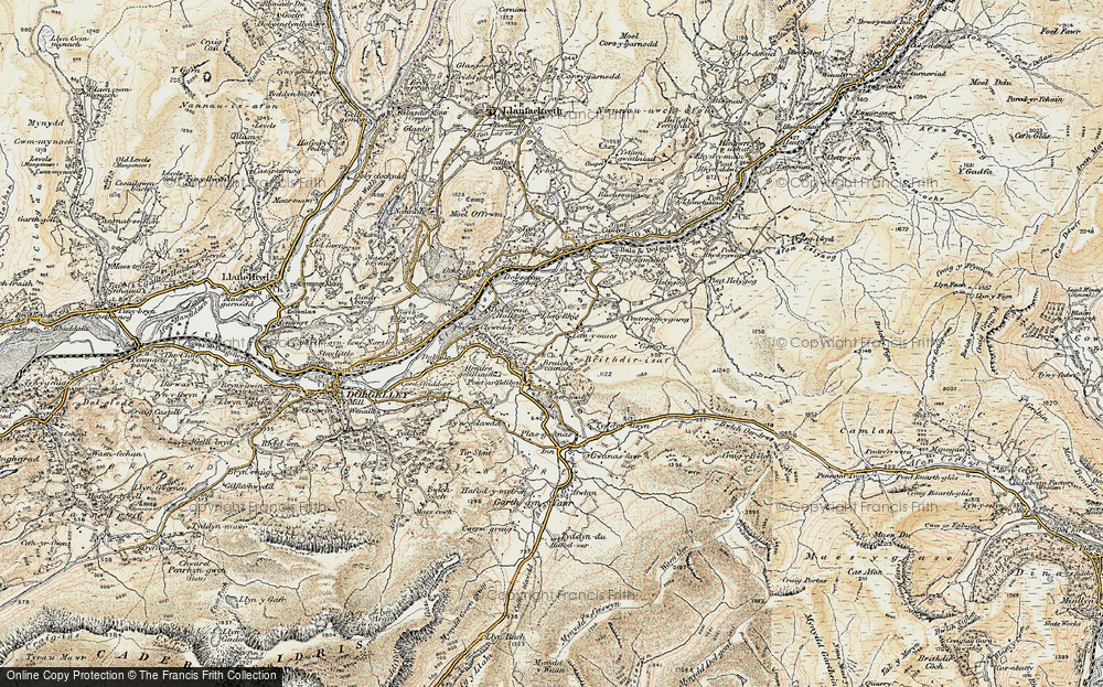 Old Map of Historic Map covering Afon Wnion in 1902-1903