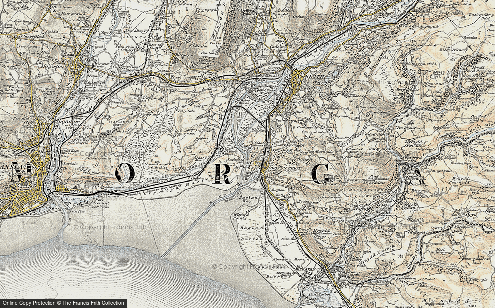 Old Map of Briton Ferry, 1900-1901 in 1900-1901