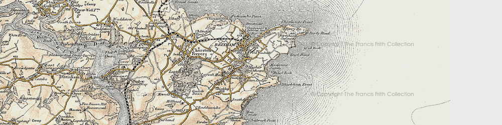 Old map of Brixham in 1899
