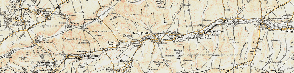Old map of Broad Chalke in 1897-1909