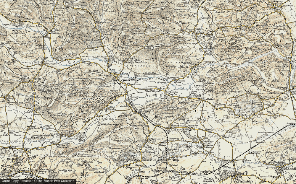 Old Map of Historic Map covering Hindwell Brook in 1900-1903