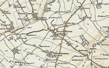 Old map of Broad Hinton in 1898-1899