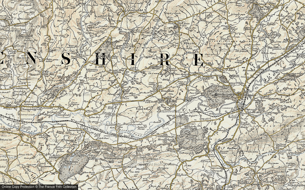 Old Map of Historic Map covering Lanlash in 1900-1901
