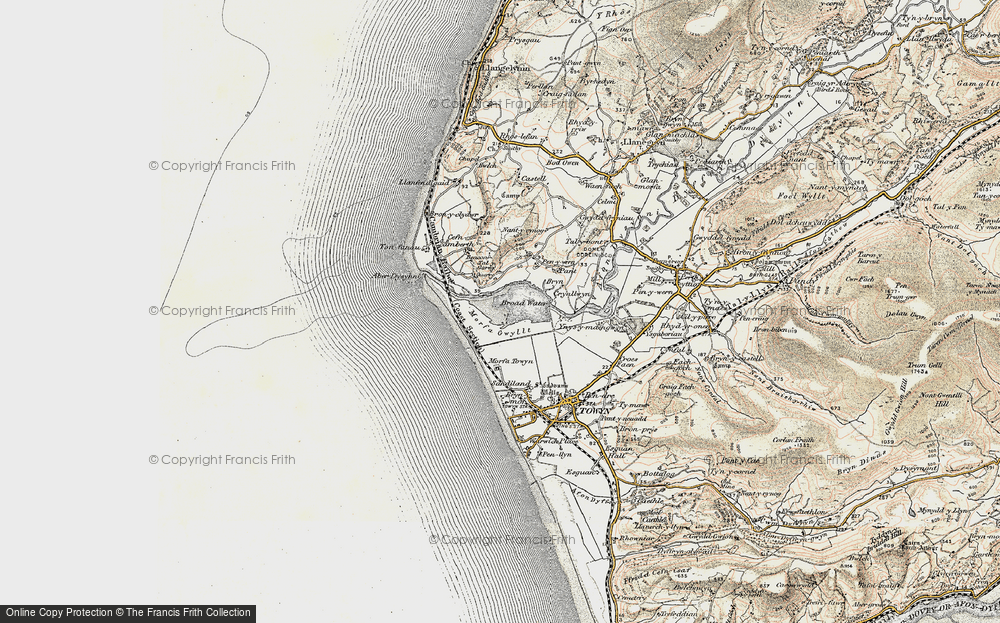 Old Map of Historic Map covering Tonfanau in 1902-1903