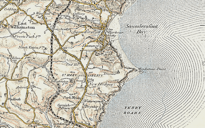 Old map of Monkstone Point in 1901
