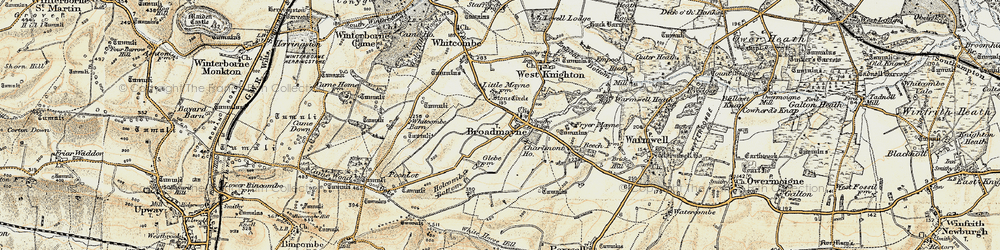 Old map of Whitcombe Barn in 1899-1909