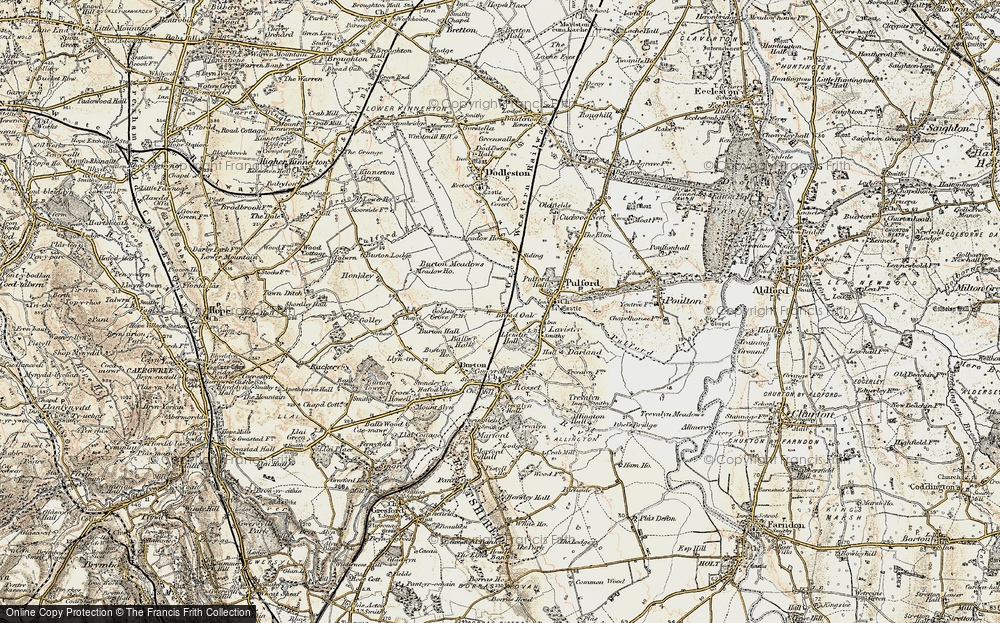 Old Map of Historic Map covering Ball's Hall in 1902-1903