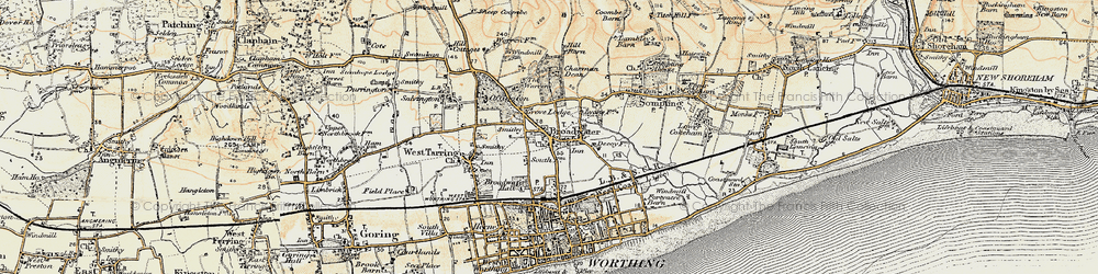 Old map of Broadwater in 1898