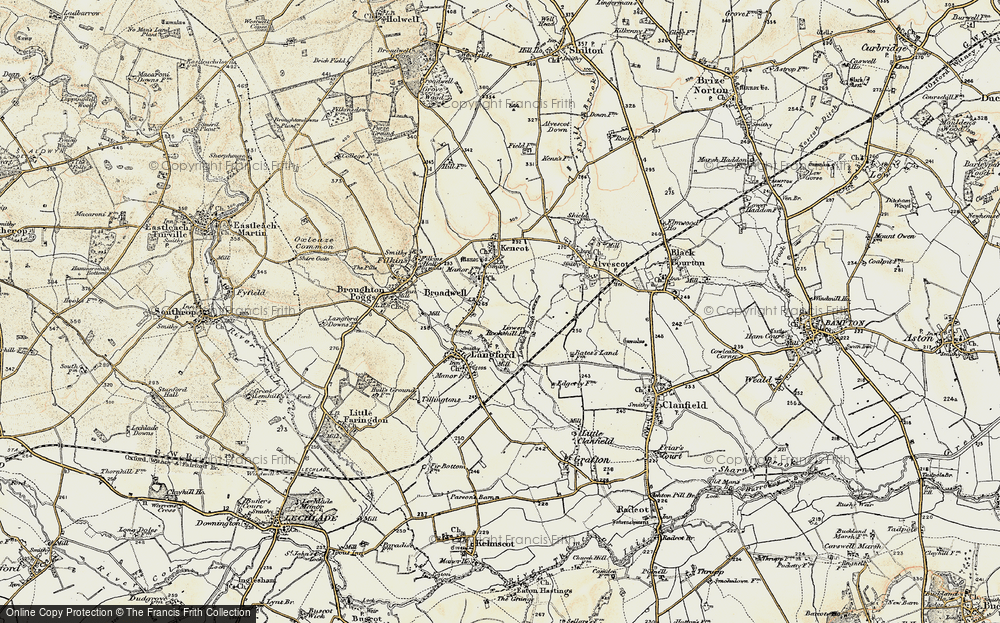 Old Map of Historic Map covering Langhat Ditch in 1898-1899
