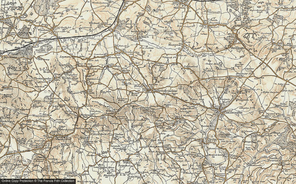 Old Map of Historic Map covering Lewesdon Hill in 1898-1899