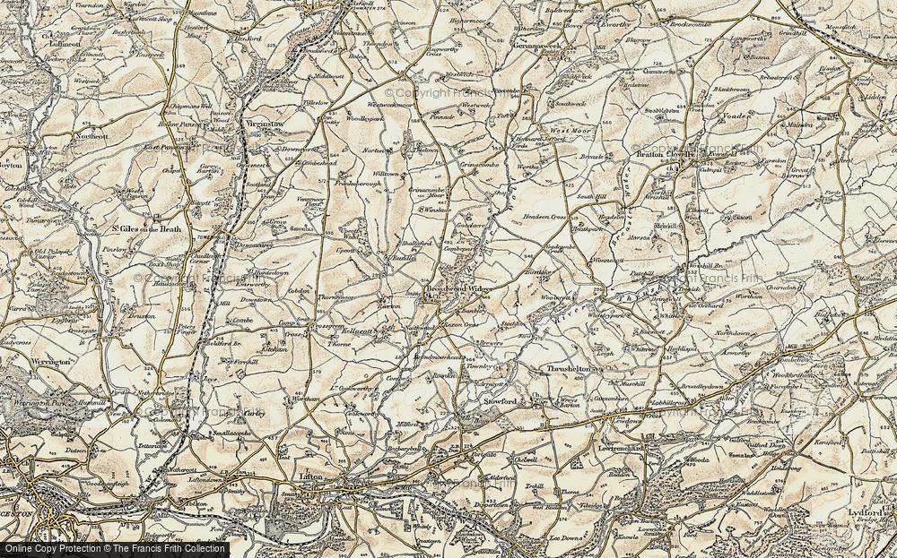 Old Map of Broadwoodwidger, 1900 in 1900