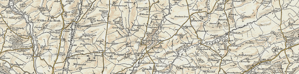 Old map of Broadwoodwidger in 1900