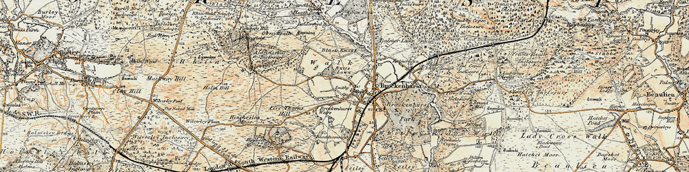 Old map of Brockenhurst in 1897-1909