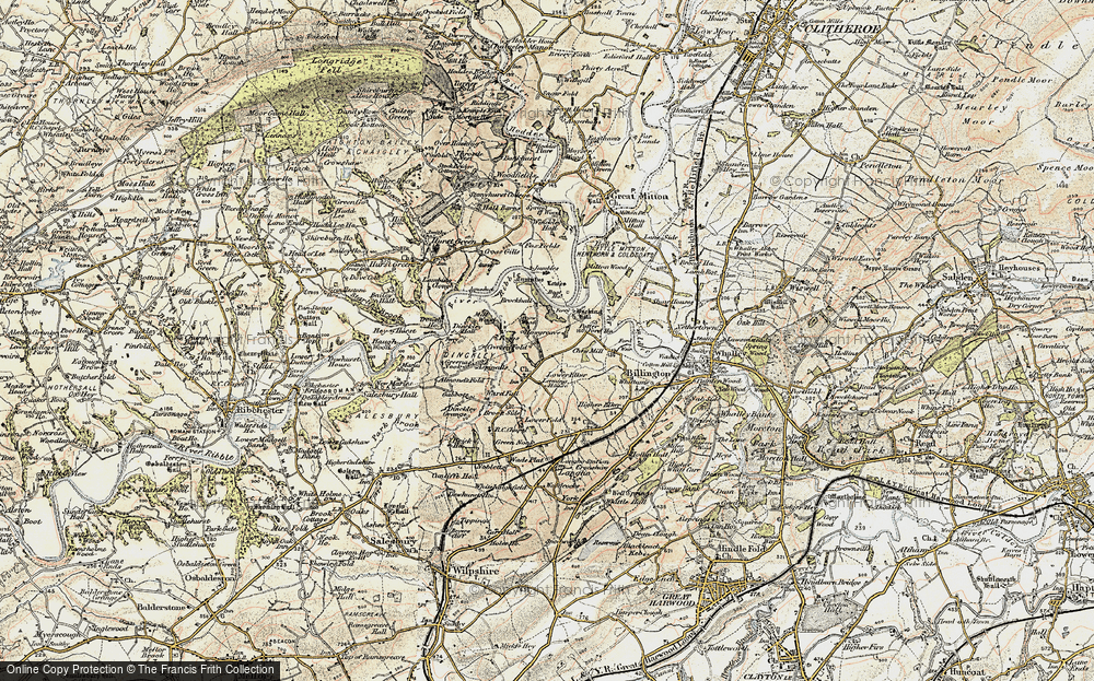 Old Map of Historic Map covering Aspinalls in 1903-1904