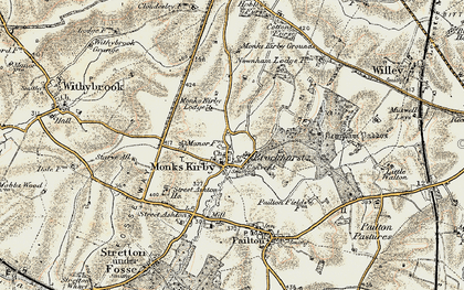 Old map of Newnham Paddox in 1901-1902