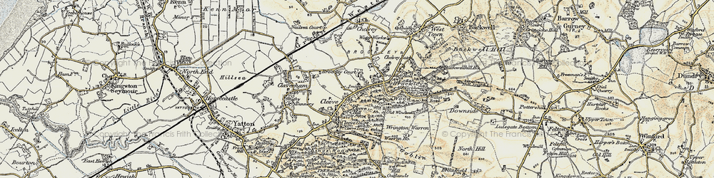 Old map of Wrington Warren in 1899