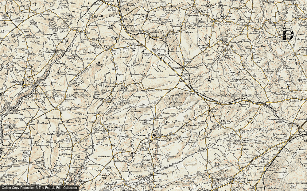 Old Map of Historic Map covering Bannadon in 1900