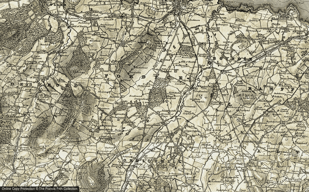 Old Map of Historic Map covering Bankhead in 1910