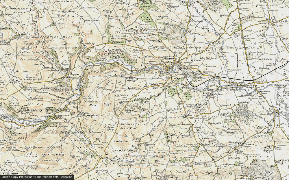 Old Map of Historic Map covering Badger Beck in 1903-1904