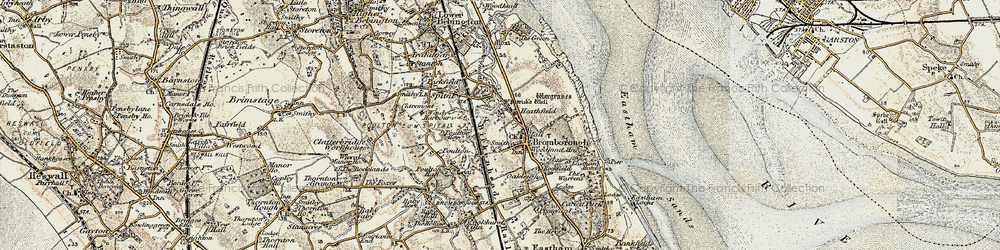 Old map of Bromborough in 1902-1903