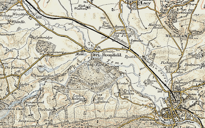 Old map of Woodhouses in 1901-1903