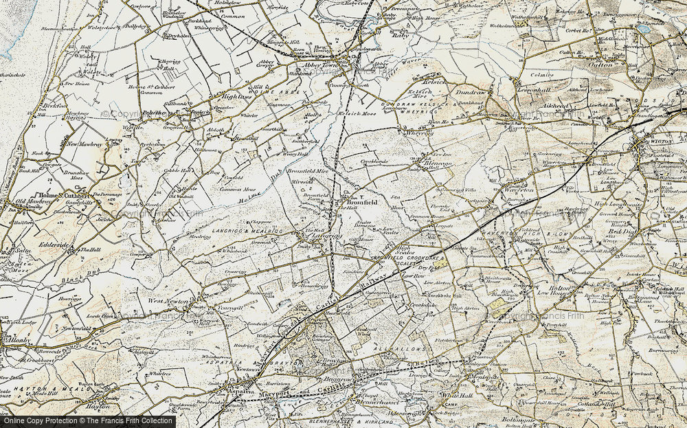 Old Map of Historic Map covering Langrigg Beck in 1901-1904