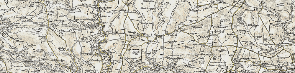 Old map of Wimbleball Lake in 1898-1900