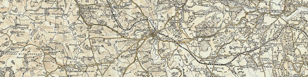Old map of Bromyard in 1899-1902