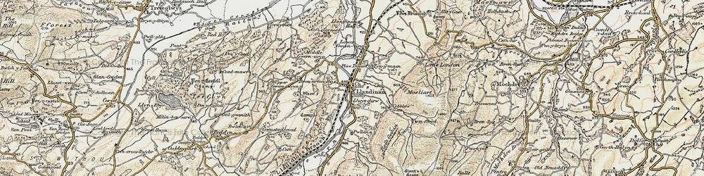 Old map of Allt y Moch in 1902-1903