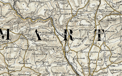 Old map of Bronwydd in 1901