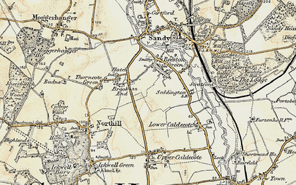 Old map of Brook End in 1898-1901