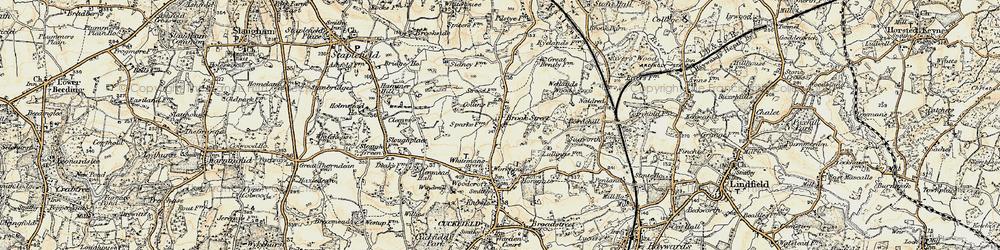 Old map of Wetlands Woods in 1898