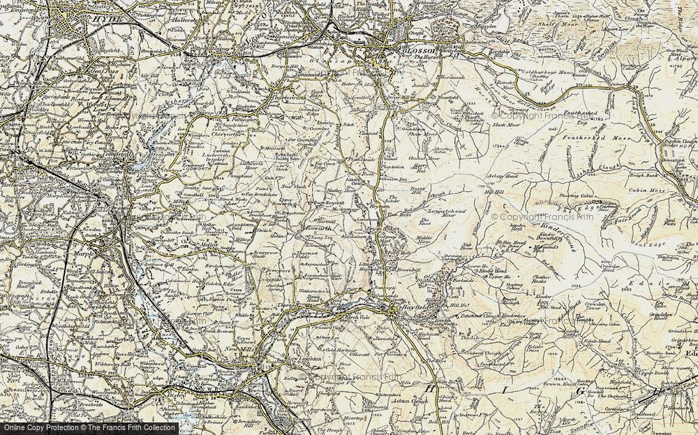 Old Map of Historic Map covering Lantern Pike in 1903