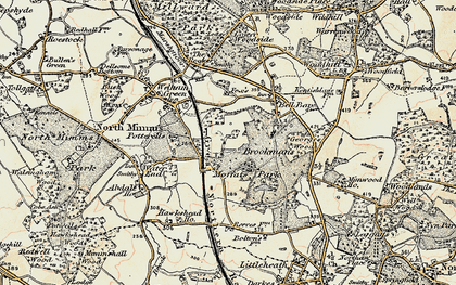 Old map of Brookmans Park in 1897-1898