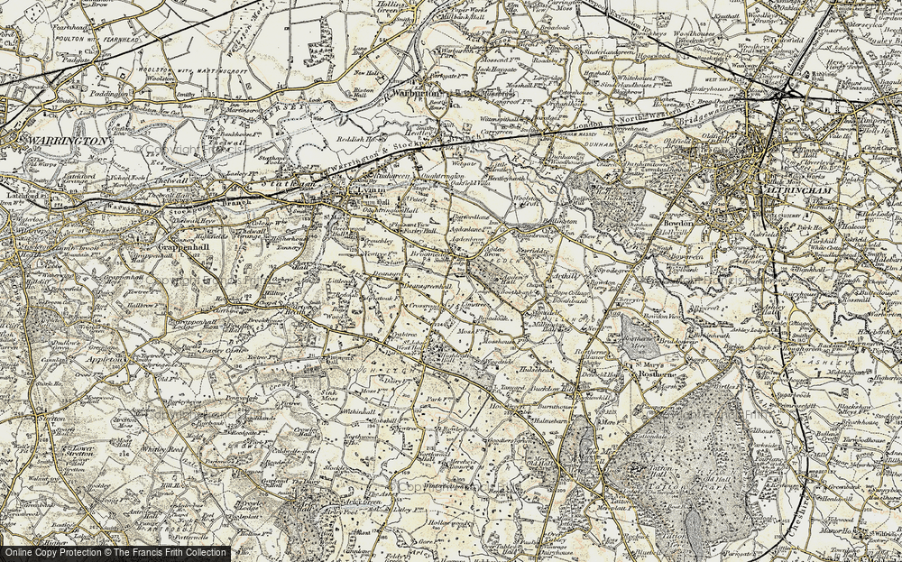 Old Map of Historic Map covering Agden Brow in 1902-1903