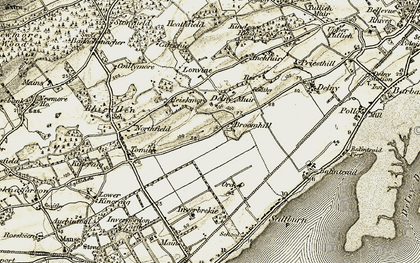 Old map of Wester Lonvine in 1911-1912