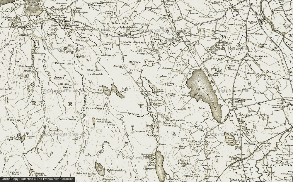 Old Map of Historic Map covering Achnacly in 1911-1912
