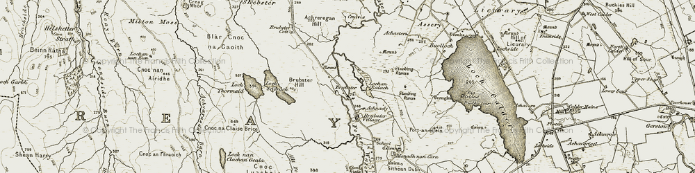 Old map of Achnacly in 1911-1912
