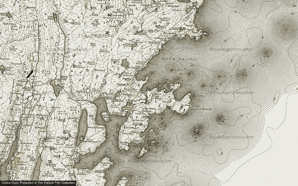 Old Map of Historic Map covering Aswick in 1911-1912