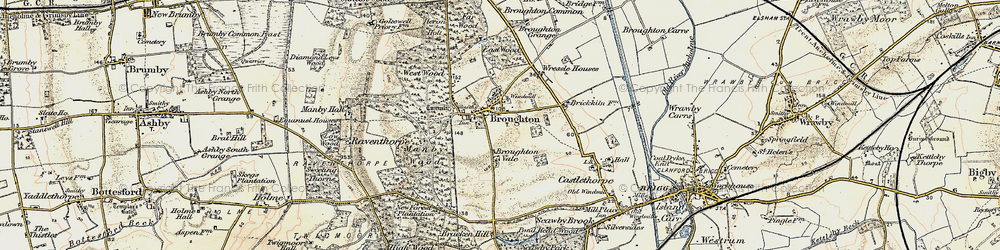 Old map of Broughton in 1903-1908