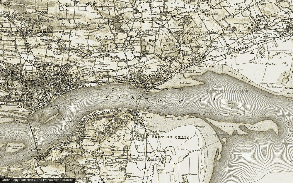 Old Map of Broughty Ferry, 1907-1908 in 1907-1908