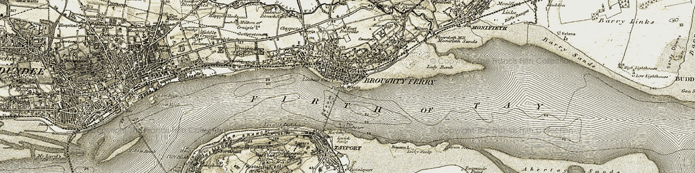 Old map of Broughty Ferry in 1907-1908
