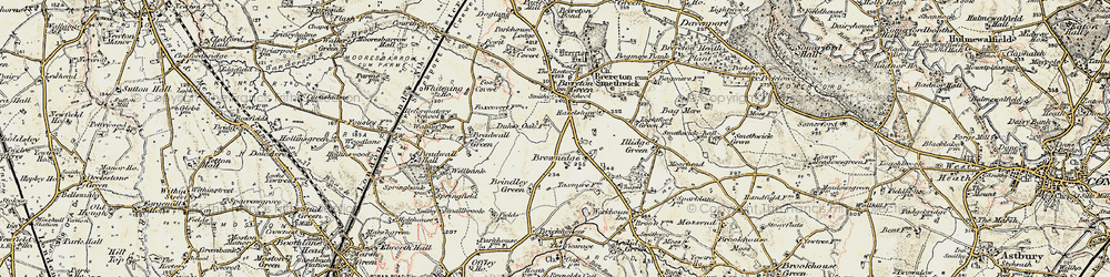Old map of Brownedge in 1902-1903