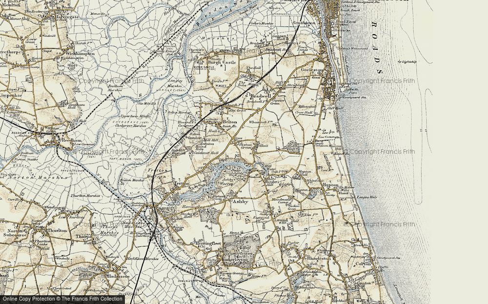 Old Map of Historic Map covering Ashby Warren in 1901-1902